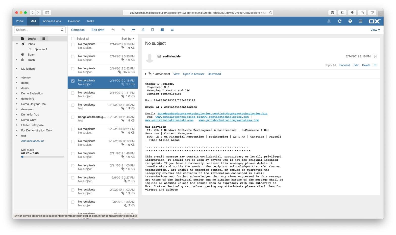 Interfaz gráfica del correo corporativo ofrecido por Compudemano Cloud